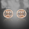 Rose Gold Color Round Hollow Flower Carving Arc Face Austrian Crystal Clip-on Stud Earrings - clip earrings, clip on earrings, clip on earrings for women, gold clip on earrings