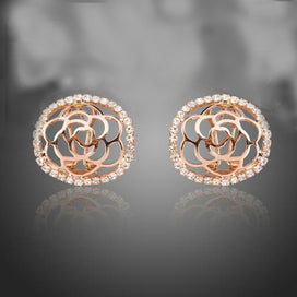 Rose Gold Color Round Hollow Flower Carving Arc Face Austrian Crystal Clip-on Stud Earrings