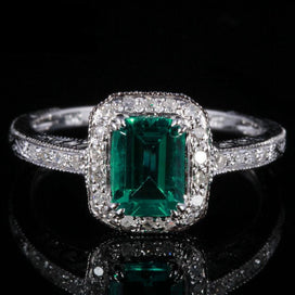 Diamond rings for women - 7X5mm 0.81ct Emerald Pave 0.2ct Diamonds Fine Ring Real 10K White Gold Engagement Wedding Art Deco
