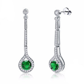 Cubic zirconia drop earrings - 925 Silver Earrings For Women 100% Solid Sterling Water Drop AAA Green Cubic Zircon Female