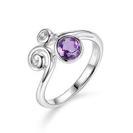 White Gold 925 Sterling Silver Jewelry Rings For Woman Amethyst Purple Stone Ring Fine Jewelry Fashion Accessory