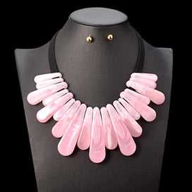 Pink statement necklaces - Black Simple Leather Chain Pink Plastic Gem Pendant Necklace Women Nigerian Wedding Indian Jewelry
