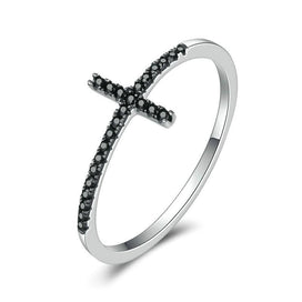 Wedding bands for women - 100% Pure 925 Sterling Silver Belief Cross Finger Rings With Black Zirconia Stone For Women Party