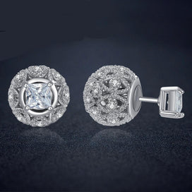 Cubic zirconia stud earrings - small crystal ball earrings stud double sided earrings for women cz square earrings hollow