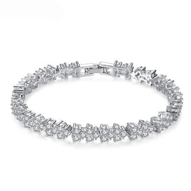 Charm bracelets for girls - White Gold-Color Chain Link Bracelet For Women Wedding Bangle Shining Clear AAA Cubic Zircon