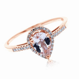 Diamond rings for women - 5x7mm Pear Morganite Pave Natural Diamonds Ring Solid 10K Rose Gold Engagement Wedding Gemstone
