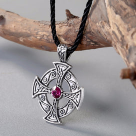 Cross necklace for women - Viking Cross Pendant Necklace Purple Crystal Love Knot Symbol Egyptian Pendant Odin Celtic Jewelry