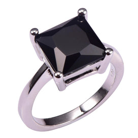 Black onyx rings for women - Classic Style Black Onyx 925 Sterling Silver Wedding Party Fashion Design Romantic Ring Size 5 6