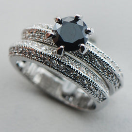 Black onyx rings for women - Black Onyx 925 Sterling Silver Fancy Jewelry Engagement Wedding Two Ring Size 6 7 8 9 10
