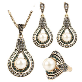 Pearl jewelry sets - 3Pcs Vintage Jewelry Sets For Women Antique Gold Pearl Earrings Necklace Ring Wedding Party Female