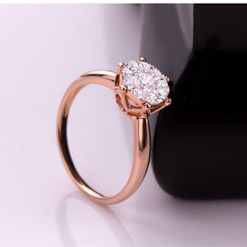 Rose gold rings for women - 0.6CT Effect SI/H Diamond Engagement Rings 18kt Rose Gold Promise Ring Fine Jewelry Round Ring