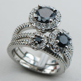 Black onyx rings for women - Black Onyx 925 Sterling Silver Fancy Jewelry Engagement Wedding Three Ring Size 6 7 8 9 10
