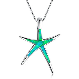 Starfish necklace sterling silver - 925 Sterling Silver Filled Green Fire Opal Starfish Pendants Necklaces For Women Wedding