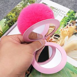 Keychains for girls - 1Pcs 12 Color Cute Puff Ball There Mirror KeyChains KeyChains Kids Women Rings Android KeyChains Car