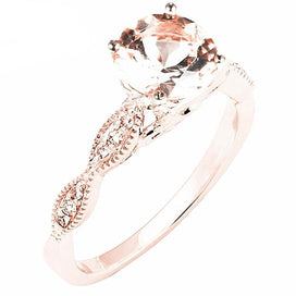 Diamond rings for women - Solid 14K Rose Gold Natural Diamonds Engagement Wedding Ring 6mm Round Pink Morganite Ring Fine