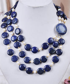 3 strand pearl necklace - 3Rows White Akoya Cultured Pearl & Genuine Coin Lapis Lazuli Jewelry Natural Stone Necklace