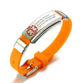 Medical id bracelets for women - Custom Engrave Bracelet Medical Alert Tag Stainless Steel ID Hard Chain Orange Silicone Gift