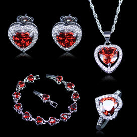 Garnet heart necklace - Heart Red Created Garnet White Zircon 925 Stamp Silver Color Jewelry Sets For Women Bracelets Pendant