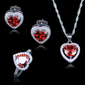 Garnet heart necklace - Best Wedding Jewelry For Women/Lady Red Heart Created Garnet White Zircon 925 Stamp Silver Color Sets