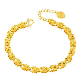 Gold chain bracelet - ( 215*6mm ) 24 K Pure Gold Color Embroidery Flower Bracelets Jewelry For Women Nickel Lead Free