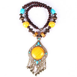 Acrylic bead necklace - Bohemia Nepal Beads Wood Geometry Irregular Bells Pendant Neckalce Woman Ethnic Statement Necklaces