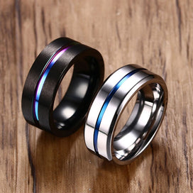 Black titanium wedding band - 8MM Black Titanium Ring For Women Wedding Bands Rainbow Groove Rings Jewelry