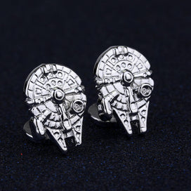 Women Fashion Jewelry Cuff Button Tie Clip Star Wars Millennium Falcon Cufflinks Pins Cuff Links