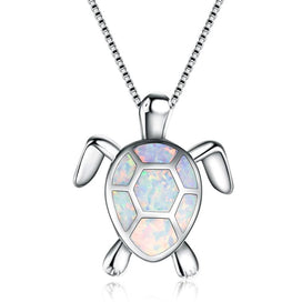 Opal stone necklace - 4 Color Opal Turtle Necklace For Women 925 Sterling Silver Filled Pendants & Necklaces Day Gift For