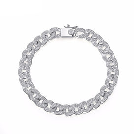 Cuban link bracelet - AAA Cubic Zirconia Paved Delicate Hip Hop Curb Cuban Link Chain Bracelet For Women Exquisite Party