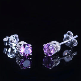 14k gold stud earrings - Amethyst Stud Earrings Solid 14K White Gold Natural 4mm Round Amethyst Wedding Fashion Modern