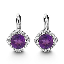 Stud earrings for women - 2.71Ct Round Natural Amethyst Gemstone Stud Earrings 925 Sterling Silver Fine Jewelry For Women