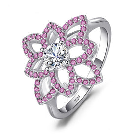 Pink sapphire ring - 0.77 ct Created Pink Sapphire CZ Flower Ring 925 Sterling Silver Wedding Party Fine Jewelry For Women