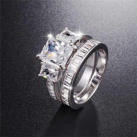 Emerald and diamond ring - 925 Sterling Silver Wedding Ring Finger 2-in-1 Emerald Cut Simulated Diamond Jewelry For Women