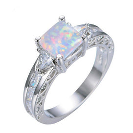 Sterling silver opal ring - 7MM Square White/Blue Fire Opal Rings For Women 925 Sterling Silver Filled White Zircon Ring