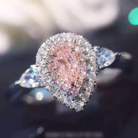 Diamond rings for women - Jewelry 925 Sterling Silver Ring Drop-cut 2ct Diamond Pink 2 Surround Pave Setting CZ Wedding Band
