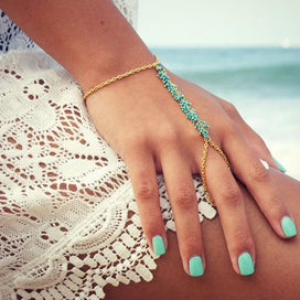 Bracelet ring chain - Chain Bracelet Drop Punk Gold-color Women Metal Hand Harness Chain Beads Slave Finger Ring