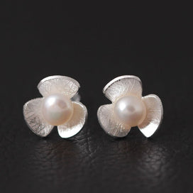 Sterling silver stud earrings - 100% 925 Sterling Silver Imitation Pearls Three Petal Flower Stud Earrings For Women Elegant