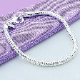Charm bracelets for girls - 1 Pcs 925 Sterling Silver Lobster Clasp Snake Chain Fit European Charm Bracelet For Women Plated