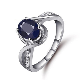 Blue sapphire engagement rings - 1.66Ct Oval Natural Sapphire Gemstone Engagement Rings 925 Sterling Silver Fine Jewelry For