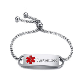 Medical id bracelets for women - Adjustable Engraving Laser Personal Info Box Chain Bracelet Bangle For Women Customized ID