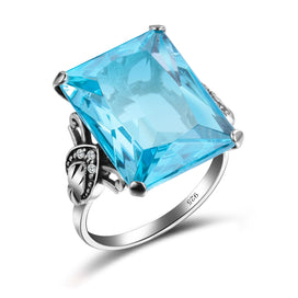 Engagement rings for women - 100% Authentic 925 Sterling Silver Dazzling Aquamarine Finger Rings For Women Simulate Diamond