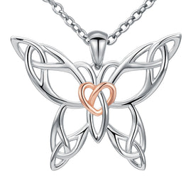 Sterling silver butterfly necklace - 925 Sterling Silver Chain Pendant Necklace Fashion Jewelry Knot Rose Butterfly Necklaces