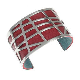 Leather cuff bracelet - 40 MM Arm Bracelets & Bangles Argent Staff Cuffs For Women Stainless Steel Reversible Leather