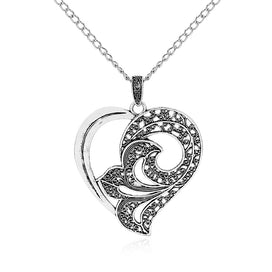 Heart locket necklace - 1pcs Antique Silver Large Lagenlook Lily Flower Open Heart Pendant Long Chain Sweater Necklace Colar