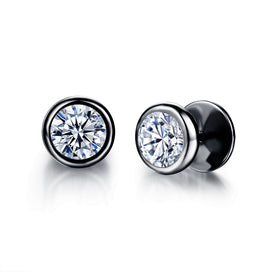Cubic zirconia stud earrings - Cubic Zirconia Round Stud Earrings Classical Stainless Steel Rock Punk Style Jewelry For Women