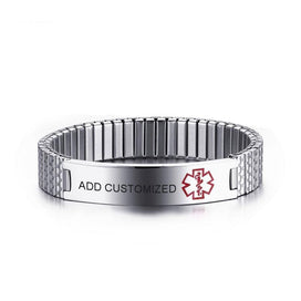 Medical id bracelets for women - Customized Engraved Elastic Diabetes Medical Alert ID Bangle For Women Stainless Steel Info