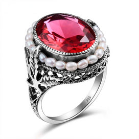 Vintage ruby rings - 100% Genuine Natural Freshwater Pearl Ring Elegant Lab Ruby Stone CZ Ring 925 Sterling Silver Cocktail