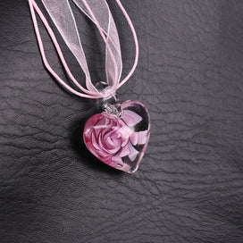 Dried flower necklace - 1 Pc Murano Glass Heart Pendant Handmade Pink Dried Flower Necklace