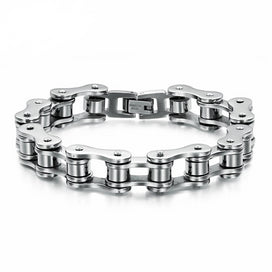 8mm Wide Motorcycle Biker Chain White Gold-color Stainless Steel Bracelets Bangles For Women Men Jewelry