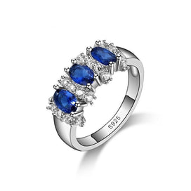 Blue sapphire engagement rings - 925 Sterling Silver Blue Sapphire Wedding Engagement Rings For Women
